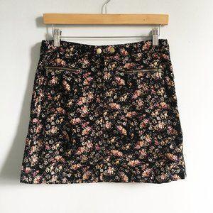 Mossimo Floral Print Corduroy Mini Skirt Pockets 4
